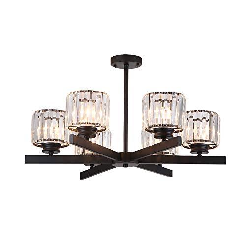 Windsor Home Deco WH-63421-6 American Modern Crytal Chandelier, 6-Light Pendant Lights Black, Pendant Lighting for Bedrooms Living Room