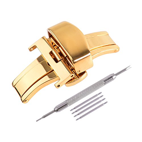 - Ritche 20mm Gold Stainless Steel Double Push Button Butterfly Deployment Clasp For Leather Watch band Strap