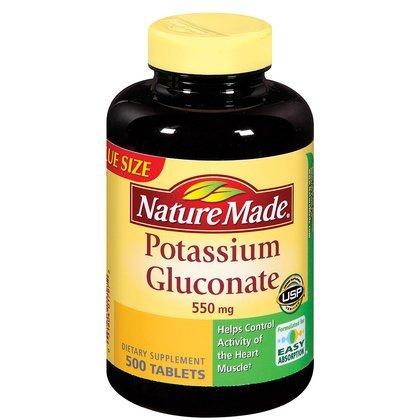 Nature Made Potassium Gluconate 550 mg Tablet, 500 ct