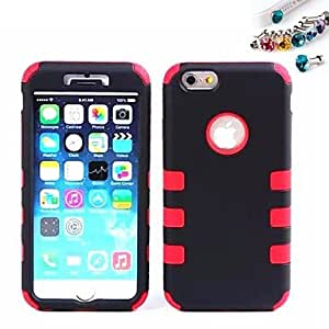 WQQ Cover Up And Down The Robot Back Cover Case And Dustproof Plug for iPhone 6 Plus(Assorted Color) , Black