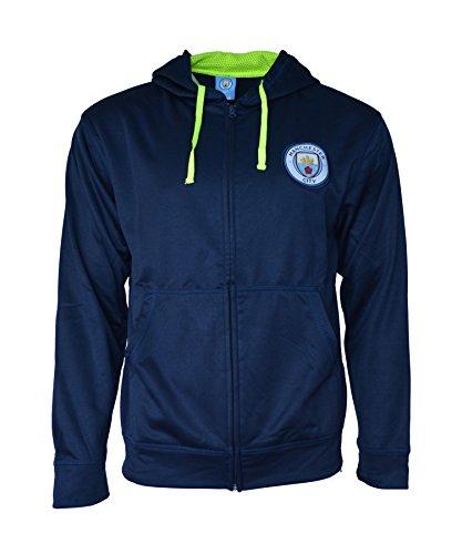 Blue Reversible Zip Hoody Sweatshirt - Manchester City Hoodie Zip Up Pullover Fleece Sweatshirt Jacket (Navy Zip, L)