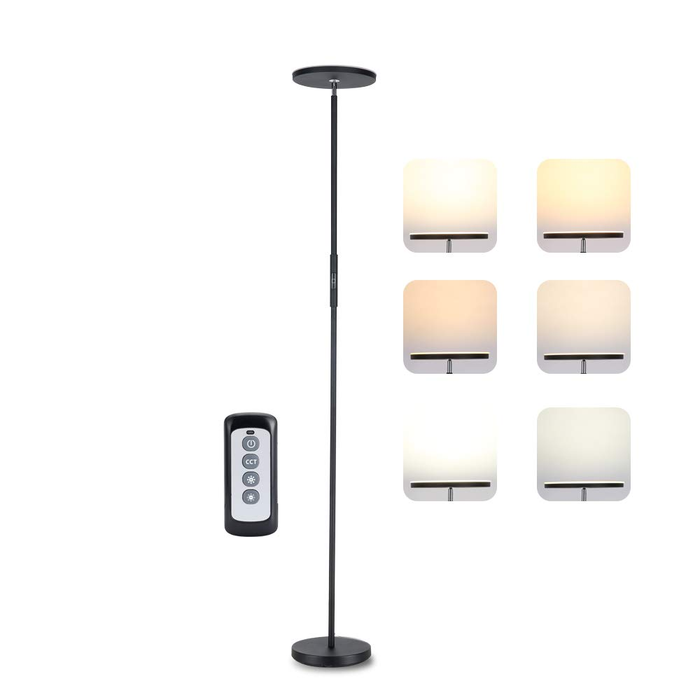 Torchiere Uplighter Light 3 Color Temperatures Tall Standing Stepless Dimmable Brightness Levels 20W with Remote for for Living Rooms /& Bedrooms LED Floor Lamp
