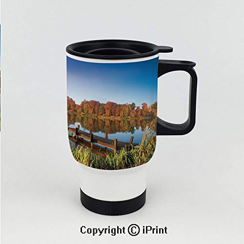 Splash-Proof Keeps Hot or Cold Thermos Cup,Lake View Fishing Countryside Themed with Trees and Long Reeds Art Photo,Double Wall Stainless Steel Vacuum ()