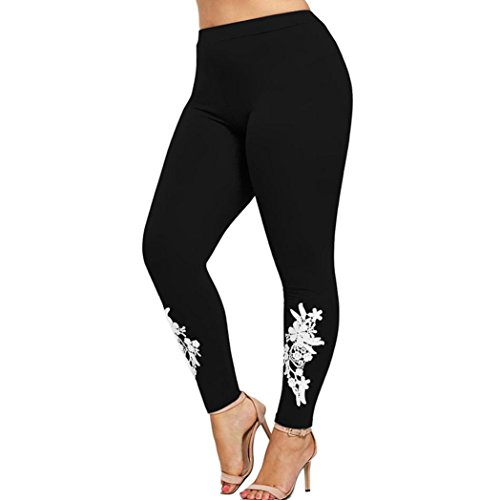 Nadition Plus Size Yoga Pants Women Applique Elastic Leggings Trousers Sport (4XL, Black)