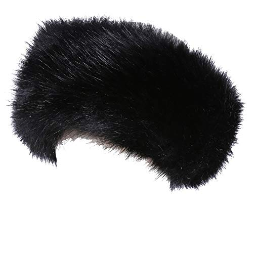 - Faux Fur Headband with Elastic for Women's Winter Earwarmer Earmuff(one size,Black)