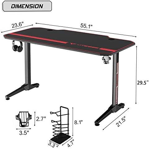 Vitesse 55 inch Gaming Desk Racing Style Computer Desk with Free Mouse pad & USB Gaming Handle Rack, T-Shaped Professional Gamer Game Station with Cup Holder & Headphone Hook (Carbon Fiber Black)