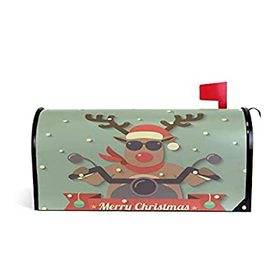 HEOEH Christmas Reindeer On Motorcycles Magnetic Mailbox Cover Home Garden Decorations Oversized 25.5 x 20.8 inches