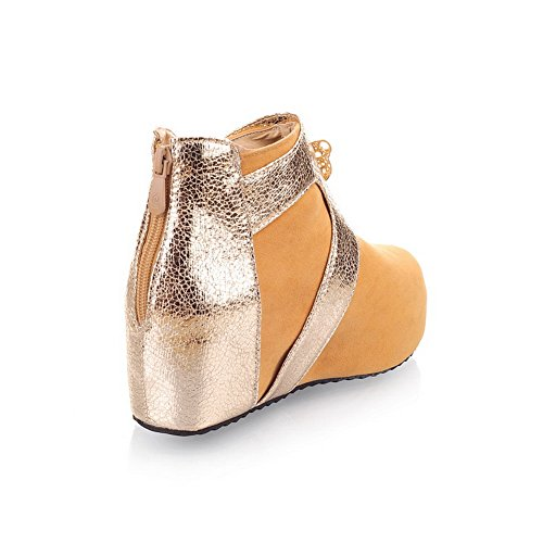 US Frosted B Closed Colors PU Toe with AmoonyFashion Heels M Metalornament 10 Yellow Assorted Kitten Boots Womens Round Bxwq4pT