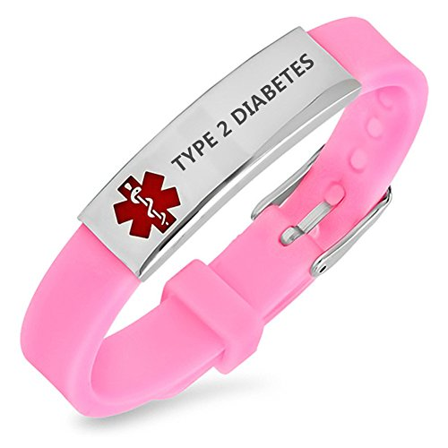 LiFashion LF Womens Girls Stainless Steel Silicone Sos TYPE 2 DIABETES Medical ID Adjustable Bracelet Pink Rubber Health Alert Wristband Monitoring Awareness for Outdoor Emergency (Type2 Diabetic Bracelet)