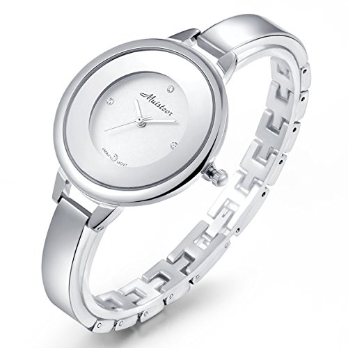 Stainless Steel Wrist Watch for Women Luxury Silver-Tone Watch Analog Quartz Ladies Watches (Silver Analog Tone)