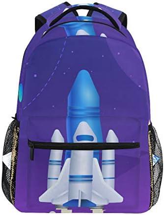 パープルロケットムーンカジュアルバッグ リュック リュック ショルダーバッグ 流行 おしゃれ 人気 ラップトップバッグ こども 通勤 通学