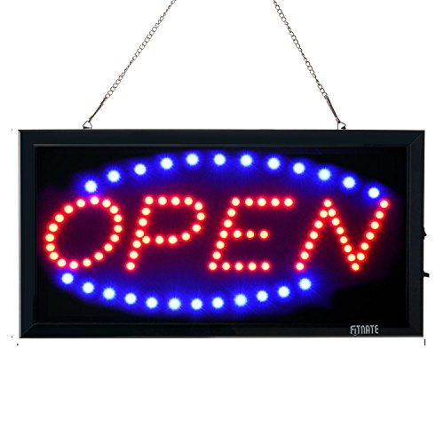 Open Sign, FITNATE LED Business Open Sign Advertisement Board Electric Display Sign, 2 Modes Flashing & Steady Light for Business, Walls, Window, Shop, Bar, Hotel