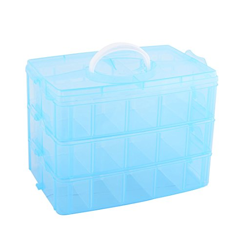 uxcell Plastic Travel 30 Compartments Trinket Cosmetic Holder Portable Storage Box Blue by uxcell