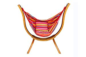 Wooden Arc Hammock Stand Curved Outdoor Hammock Swing Chair Set single Person Cotton Hammock Garden Patio