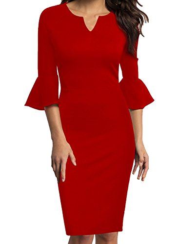 WOOSUNZE Womens Flounce Bell Sleeve Office Work Casual Pencil Dress (Red, Medium) (Red Dress Suit)