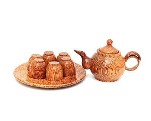 - Vietnamese Handcraft Natural Coconut Wood Teapot & Cups Set