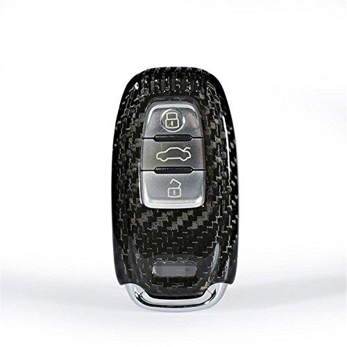 100% Carbon Fiber Case For Audi Key Fob, Genuine Carbon Fiber Cover For Audi S5 S6 S7 S8 SQ5 RS5 RS7 Q5 A4L A5 A6L A7 A8 Smart Keyless Fob Remote Key, Men's Car Key Fob Case Women's Fob Cover - Black