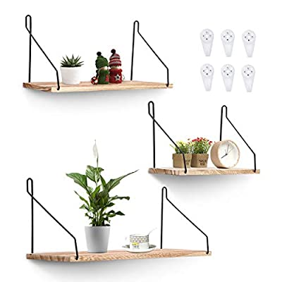 AGSIVO Bedroom Shelves Wall Shelves for Living Room Rustic Storage Shelves,Home Decoration,Office,Bathroom,Living Room and Kitchen Shelf,3 Size - 【Functional Home Decoration 】Creating more space for your home. You can display books, plants, and created a rustic, industrial style with this floating shelf set.These beautiful unique design wall shelvesf is made up of lightweight wood. Show off your personal style with an easy shelf display. 【 Lightweight Wood Shelf】 An simple and mordern design wall shelves with no rust metal brackets. Shelf organizers are perfect for entryways bathrooms and kids' rooms. The simple design and clean lines will add a contemporary feel to your decor, and the beautiful finish will complement your existing color scheme. This ledge goes well with any decor, be it modern, rustic or contemporary. 【Super Easy Installtion】 If you Install with the seamless nails. Please do not put to much heavy thing on it .If you install it with wall screws, this floating shelves can hold up to 30 lbs.Have a great vision for the space and easy to clean.Since wall shelf have more sorts, there's no guesswork involved and decorating your wall is just a few simple steps away. - wall-shelves, living-room-furniture, living-room - 41SgMmUJYSL. SS400  -