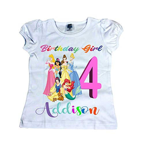 Disney birthday shirt Girl Disney princess shirt Girl Age Name shirt Girl shirts