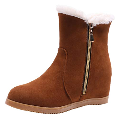 AIMTOPPY Women's Booties Round Head Suede Wedge Zipper Warm Snow Shoes