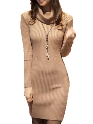 V28-Women-Cowl-Neck-Knit-Stretchable-Elasticity-Long-Sleeve-Slim-Fit-Sweater-Dress