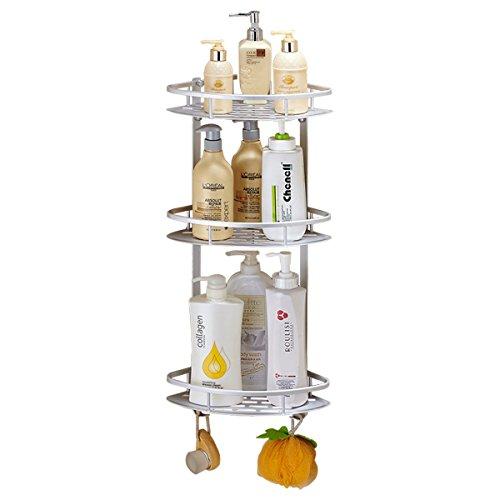 Wall Mounted 3 Tier Bathroom Corner Shelves,Light Weight Corner Shampoo Holder Racks Shower Caddy with 2 Hooks