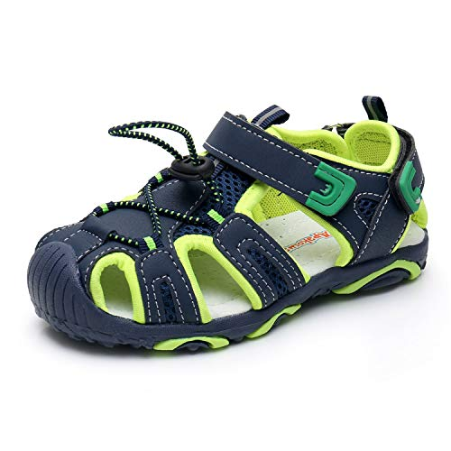 - Apakowa Kids Boys Outdoor Athletic Sport Closed-Toe Sandals Boys Breathable Mesh Water Sandals Shoes (Toddler/Little Kid) (Color : Navy/Green, Size : 9 M US Toddler)