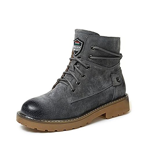 Camel Boots Combat Leather Winter HSXZ Shoes Fashion Real Rubber Casual Green ZHZNVX PU for Boots Grey Mid Boots Boots Gray Women's Calf Fall Black q0vBndwP