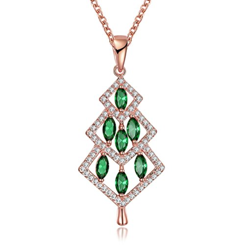 Lenox Silver Necklace (Christmas Gifts for Girls Women's 18K Gold Plated Cute Shinning Green Oval CZ Christmas Tree Pendant Necklaces 18'' - Rose)