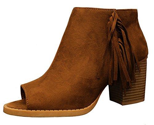 - SODA Women's Sueded Fringe Peep Toe Chunky Stacked Heel Bootie (6.5 B(M) US, Chestnut)