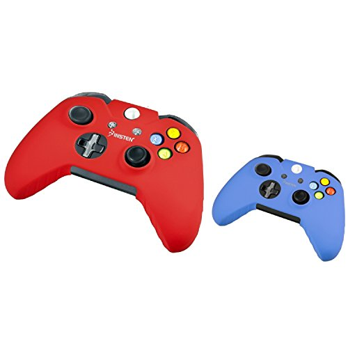 Xbox One/ Xbox One S Controller Silicone Skin Case, Insten 2-Pack Silicone Skin Case Combo Compatible With Microsoft Xbox One / Xbox One S / Xbox One X Controller, Red/Blue