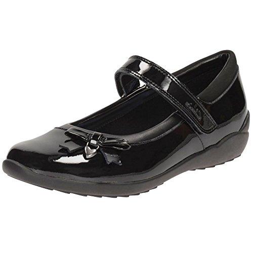 Clarks Ting-Fieber Mädchen Junior School Schuh in schwarzem Leder oder Patent Black Patent