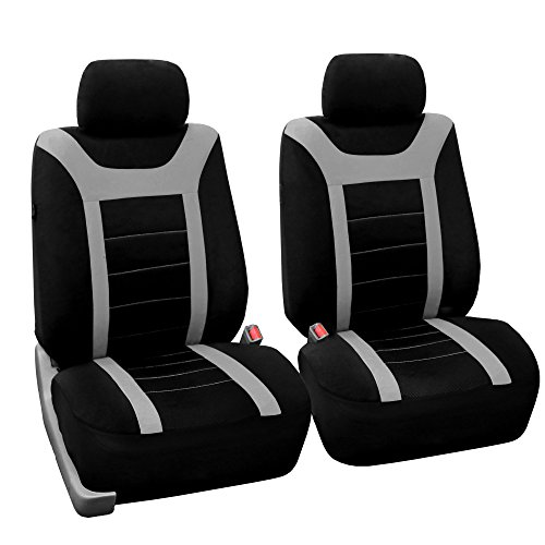 FH Group Sports Fabric Car Seat Covers Pair Set (Airbag compatible), Gray/Black- Fit Most Car, Truck, Suv, or - Covers Ford Escape Seat 2011