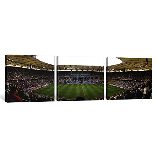 iCanvasART 3 Piece Crowd In A Stadium To Watch A Soccer Match, Hamburg, Germany Canvas Print by Panoramic Images, 36 by 12''/1.5'' Deep by iCanvasART