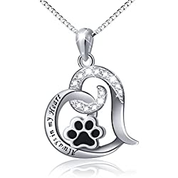 "Paw Necklace 925 Sterling Silver Cute Puppy Paw Print Love Heart Pendant Necklace Gift for Women Girls, Box Chain 18"" (Engraved Always in My Heart)"