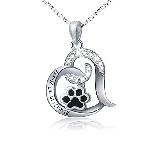 925 Sterling Silver Cute Puppy Paw Print Love Heart Pendant Necklace for Women Girls, Box Chain 18