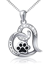 """925 Sterling Silver Cute Puppy Paw Print Love Heart Pendant Necklace for Women, Box Chain 18"""""""