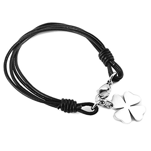 4 Leaf Clover Bracelet (Leather Stainless Steel Lucky Charm 4-Leaf Clover Irish Good Luck Bracelet, Braided Cuff Bangle)