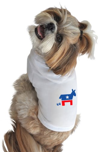 Democrat Dog T-shirt (Ruff Ruff and Meow Dog Hoodie, Democrat, White, Large)