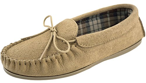 suede moccasins with soles made of PVC and fabric lining. Beige