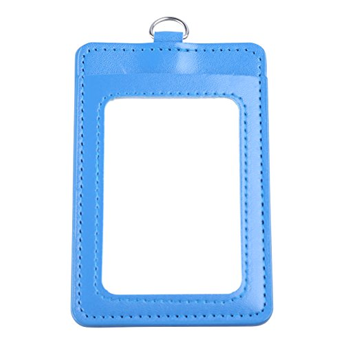 Sky Blue Badge Holder, PU Leather ID Badge Holder - 1 ID Window 1 Card Slot and Twisted Lanyard for Men Women
