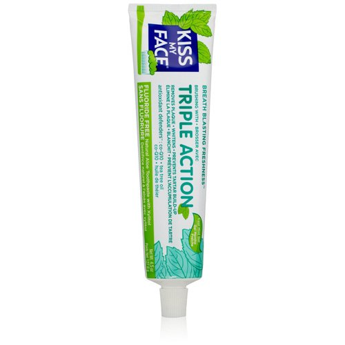 Kiss My Face Triple Action Gel Toothpaste, Fluoride Free Toothpaste, 4.5 ()