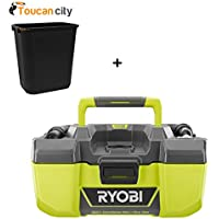 Ryobi 18-Volt ONE+ 3 Gal Project Wet/Dry Vacuum with Accessory Storage (Tool-Only) P3240 and Toucan City 7 Gal Trash can