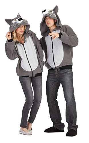 RG Costumes Willie The Wolf Hoodie, Gray, Large (Adult Wolf Sweatshirt)