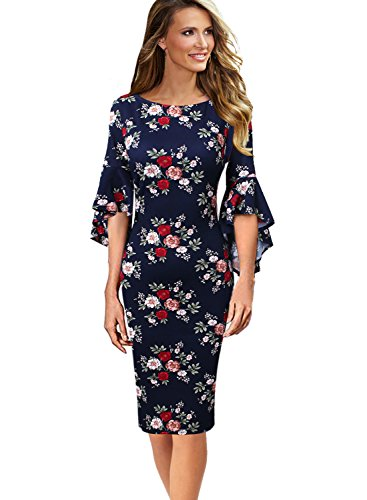 VfEmage Womens Elegant Bell Sleeve Wear to Work Party Cocktail Sheath Dress 9452 FLW 14 (Party Cocktail Wear)