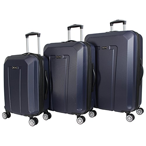 Kemyer 3-Piece Hardside Upright Spinner Rolling Luggage Set - Navy by Kemyer
