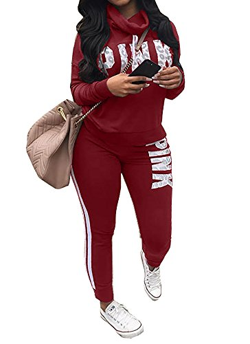 Tracksuit Sets For Women Cowl Neck 2 Piece Long Sleeve Letter Print Jogger Plus Size Sweatpants – DiZiSports Store
