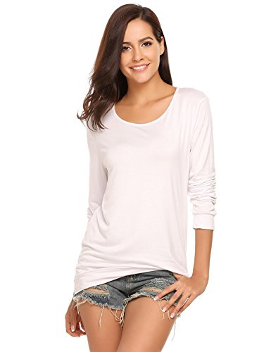 Soteer Women's Long Sleeve Tops Cotton Blend Crew Neck Casual Teen Girls Tees Loose T Shirts (Small, - Knit Blouse Soft White