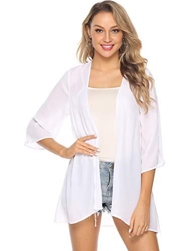 Abollria Damen Chiffon Kimono Cardigan Elegante Leichte Sommerjacke 3/4 Arm Casual Strand Cover Up für Urlaub,Weiß,XL