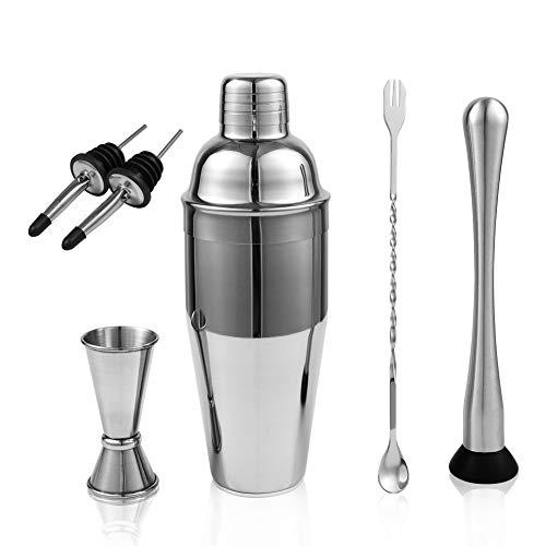 Cocktail Shaker Bar Set : 24 oz Stainless Steel Martini Mixer,Mixing Spoon, Muddler,Jigger,2 Liquor Pourer,Velvet Bag,Cocktail Recipes Booklet,Professional Bartender Kit,Bar Tools by LUCKYGOOBO